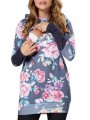 Light Blue Floral Print Hooded Long Sleeve Casual Maternity Sweatshirt