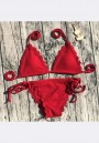 Red Lace Lace-up Two Piece V-neck Sweet Swimwear