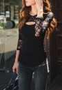 Black Patchwork Hollow-out Lace Cut Out Round Neck Slim T-Shirt