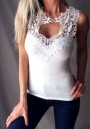 White Patchwork Lace Cut Out Sleeveless Fashion T-Shirt