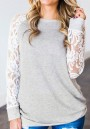 Light Grey Patchwork Lace Round Neck Long Sleeve Casual T-Shirt