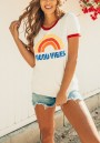 "White Rainbow ""GOOD VIBES"" Print Cute Casual T-Shirt"