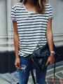 Black-White Striped Round Neck Short Sleeve Fashion T-Shirt