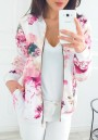 Pink Floral Zipper Pockets Round Neck Long Sleeve Outerwear