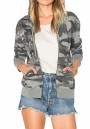 Grey Camouflage Zipper Pockets Hooded Long Sleeve Outerwear