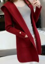 Wine Red Pockets Hooded Plunging Neckline Long Sleeve Cardigan Coat