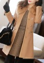Camel Pockets Turndown Collar Double Breasted Long Sleeve Cardigan Coat