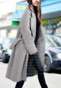 Grey Pockets Sashes Tailored Collar Long Sleeve Wool Coat