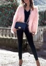 Pink Faux Fur Long Sleeve Elegant Streetwear Cardigan Coat