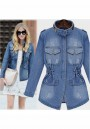 Blue Buttons Pockets Pleated Plus Size Band Collar Going out Cardigan Coat
