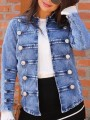 Blue Buttons Double Breasted Long Sleeve Casual Denim Jacket