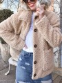 Apricot Fur Pockets Single Breasted Turndown Collar Long Sleeve Casual Coat