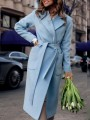 Light Blue Pockets Sashes Turndown Collar Long Sleeve Going out Wool Coat