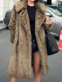Light Brown Fur Pockets Turndown Collar Long Sleeve Elegant Coat