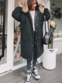 Black Patchwork Pockets Single Breasted Drawstring Fur Zipper Hooded Long Sleeve Casual Coat
