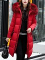 Red Patchwork Monogram Fur Pockets Zipper Hooded Long Sleeve Casual Coat