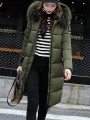 Army Green Patchwork Monogram Fur Pockets Zipper Hooded Long Sleeve Casual Coat