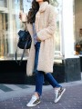 Light Apricot Turndown Collar Going Out Fashion Pile Teddy Coat
