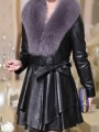 Black Sashes Grey Fur Collar Long Sleeve Going out PU Leather Coat