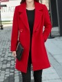 Red Pockets Buttons Double Breasted Tailored Collar Long Sleeve Elegant Coat