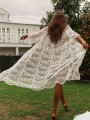 White Patchwork Lace Cut Out Grenadine 3/4 Length Sleeve Bohemian Outerwear
