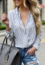 Blue Striped Buttons V-neck Office Worker/Daily Going out Blouse