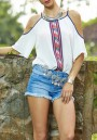 White Floral Cut Out Round Neck Bohemian Blouse