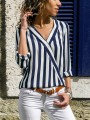 Blue Striped Print High-low Long Sleeve V-neck Fashion Blouses