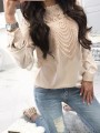 Apricot Lace Cut Out Round Neck Long Sleeve Going out Blouse