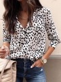 White Polka Dot Print Single Breasted V-neck Long Sleeve Fashion Blouse