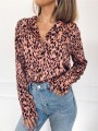 Pink Leopard Buttons Turndown Collar Going out Casual Blouse