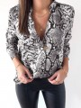 Grey Leopard Single Breasted Turndown Collar Long Sleeve Fashion Blouse