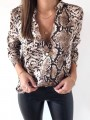 Brown Leopard Single Breasted Turndown Collar Long Sleeve Fashion Blouse