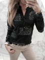 Black Letter Print Buttons V-neck Long Sleeve Fashion Blouse