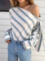 Blue Striped Ruffle Bow Fashion Long Sleeve Blouse