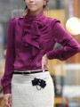 Purple Buttons Ruffle Collar Long Sleeve Elegant Blouse