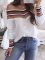 White Striped Color Block Backless Boat Neck Long Sleeve Fashion Blouse