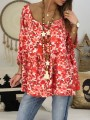 Red Floral Pleated Ruffle Round Neck Three Quarter Length Sleeve Fashion Blouse