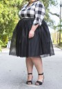 Black Grenadine Draped Fluffy Puffy Tulle Plus Size High Waisted Tutu Cute Skirt