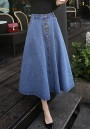 Light Blue Pockets Draped Single Breasted A-Line Going out Skirt