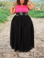 Black Grenadine Pleated Belt Plus Size Tutu Homecoming Party Skirt