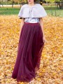 Burgundy Grenadine Pleated High Waisted Tulle Tutu Homecoming Chirstmas Party Vintage Elegant Skirt