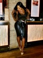 Black Cascading Ruffle PU Latex Vinly Patent Rubber Bodycon High Waisted Party Skirt