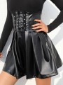 Black Pleated Zipper Rivet Bandage Girdle High Waisted Fashion Skirt