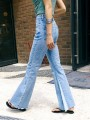 Light Blue Patchwork Pockets High Waisted Mom Flare Bell Bottom Long Flare Jeans
