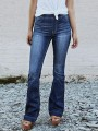 Dark Blue Pockets Mid-rise Fashion Long Flare Jeans