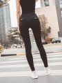 Black Pockets Buttons High Waisted Casual Long Legging