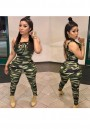 Army Green Camouflage Hollow-out Lace-up Sleeveless Elastic Waist Long Jumpsuit