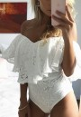 White Patchwork Lace Ruffle Hollow-out Sewing Mid-rise Short Jumpsuit