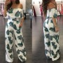 White Leaves Print Ruffle Pockets Boat Neck Off Shoulder High Waisted Long Jumpsuit